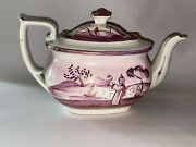 Lb3 Staffordshire Pearlware Pink Luster Teapot With Oriental River Scene Ca 1820