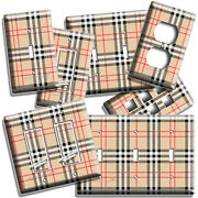 Large Tartan Red Beige Black Plaid Pattern Light Switch Outlet Wall Plates Decor