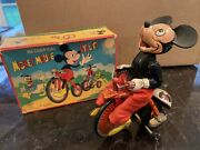 Mechanical Mickey Mouse Wind Up Cyclist By Linemar Nm W/original Box 1950andrsquos Rare