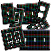 Tartan Blue Green Black Red Plaid Pattern Light Switch Outlet Wall Plates Decor