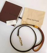 Louis Vuitton Leash For Small Dogs W110 H1.8cm Monogram Canvas Tanned Leather