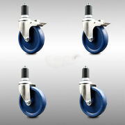 316ss Solid Poly Swvl Ex Caster Set 4 W/5 Blue Wheels And 1-1/2 Stems - 2
