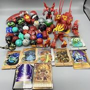 35 Bakugan Battle Brawlers Mixed Figure Lot W/ 8 Magnetic Card And Dragonoid Colos