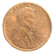 1945-s Bu Us Lincoln Wheat Cent Penny Exact Coin Collection Free Shipping 7681