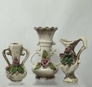 Vintage Mini Vases And Pitcher Capodimonte Pottery Beige With Pink Roses Set Of 3