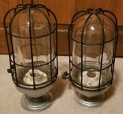 Vintage Pair Spero 16 Dock Lights 12 Tall 5 Wide Glass Domes Wire Cages