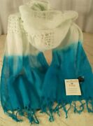 Rising Tide Nwt Scarf 76inch Artisan Handcrafted Linen And Rayon India Lightweight