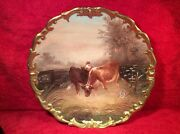 Antique French Limoges Wall Plaque Platter Known Artist Signed Cows In Field