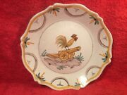Antique French Faience Revolutionary Plate Rooster On Top Of A Canon C.1790