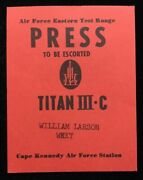 Afetr Cape Kennedy Early Titan Iii-c Radio / Press Issued Vintage Red Badge