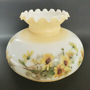 Vintage Glass Hurricane Lamp Shade Hand Painted Yellow Daisy Flowers 9.5 Fitter