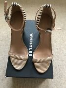 Whistle New Shoes Size 6 Beige And Black Stripe Open Toe High Heel With Box