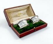 Antique Pair Edwardian Sterling Silver Elkington Napkin Rings In Red Leather Box