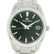 Seiko 9f62-0ab0 Stainless Steel Quartz Black Dial Menand039s Watch Pre Owned [u0820]