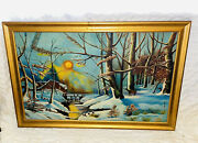 Vintage Mid Century Winter Scene Oil Painting Framed Wood Frame 24andrdquo By 35andrdquo