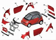 2008-15 Smart Car Fortwo 451 New Body Panel Kit Complete Red 10 Piece Set