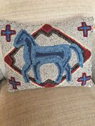 Primitive Folk Art Horse Pillow Hooked With Overdyed Wool On Linen