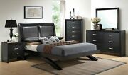 Contemporary Black Finish 4pc Bedroom Set King Bed Dresser Mirror Nightstand New