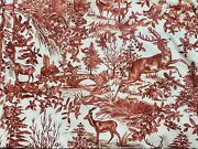 Pottery Barn Red Toile Print King Size Duvet Cover Reindeer Trees Very Nice