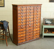 C1878 Antique Industrial Ambergs Oak 36 Drawer Paper File Cabinet Apothecary