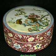 6.2 Qianlong Marked Old Chinese Color Enamel Porcelain Flower Bird Jewelry Box