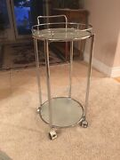 Vintage 1980's Chrome And Frosted Glass Round Rolling Bar Cart