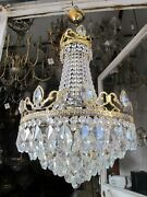 Antique French Huge Bohemia Crystal Art Nouveau Chandelier Ceiling Lamp 1940and039s
