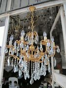 Antique Vnt Gigantic 8 Arms Brass And Crystal Chandelier Lamp Light 1940and039s Rr