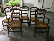 Set Of 6 French Antique Louis Xv Carved Oak Rush Seat Dining Chairs 2 End 4 Side