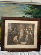 """Antique Engraving Christ And The Fallen Woman Dc Newell Framing 1800's 22""""x25"""""""