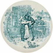 Antique French Faience Blue Transferware Plate Louis Mimard Hb Choisy Boulenger