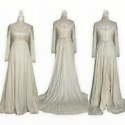 Christos Bridal Couture Vintage Long Sleeve Lace Wedding Dress Off White Size 6