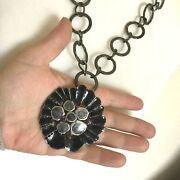 Chunky Flower Heavy Pendant Big Link Chain Statement Necklace Costume Jewellery