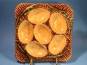 Antique French Majolica Egg Serving Tray With Chicks C.1800's
