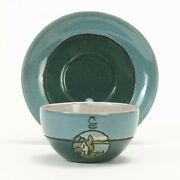 Seg Saturday Evening Girls Pr Pottery House Landscape Cup Saucer Arts And Crafts