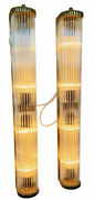 Pair Large Old Vintage Art Deco Brass And Glass Rod Ship 4 Light Wall Sconces Lamp