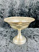 B And M Sterling Silver Pedestal Candy Nut Dish 93 Weighted Pierced Design Vtg