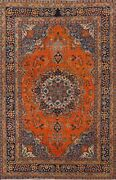 Semi-antique Orange Floral Traditional Oriental Area Rug Hand-knotted Wool 6x9
