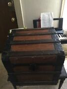 Nice Antique Wooden Chest Trunk. 19 By 18 Inches. 20 Inches Tall.
