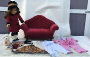 American Girl Doll 18 Inch Rebecca W/victorian Couch Pajamas 2 Dog Coconut..