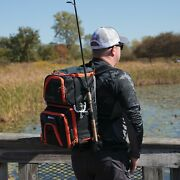 Elite Fishing Tackle Backpack With Bait Cooler, Fishing Bag W/ Tray, Black