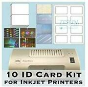 10 Id Card Kit - Laminator Inkjet Teslin Butterfly Pouches And Holograms -