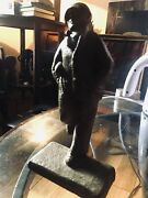 Solid Iron Doorstop Paper Weight C. 1915 Football Player Holding Football  Rare