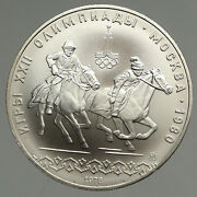 1978 Moscow 1980 Russia Olympics Horses Equestrian Silver 10 Rouble Coin I94695