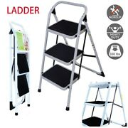 3 Steps Iron Ladder Folding Non Slip Safety Tread Heavy Duty Industrial Home Use