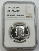 1965-sms Ngc Ms67cameo Kennedy Half Dollar 50c Us Coin Item 28683a