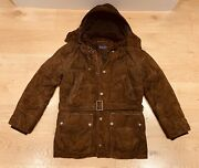 Purple Label Brown Suede Down Bomber Jacket M Car Coat Rrp Andpound5975