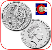 2017 Queenand039s Beast Red Dragon Of Wales 2 Oz Silver Uk Coin In Direct Fit Capsule