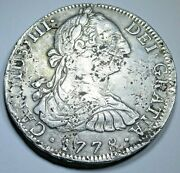 1778 Mexico Silver 8 Reales Antique 1700's Spanish Colonial Pirate Dollar Coin