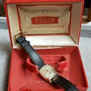 Vintage Elgin 555 Watch W/ Box For Parts, 17 Jewels Runs